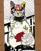 Collage Mixed Media - Cat I by Michel  Keck