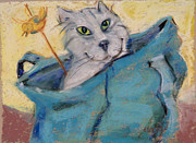 Friendly Pastels - Cat in a Bag by Barbara Torke