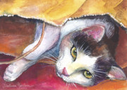 Whimsical Cat Art Prints - Cat in a bag painting Print by Svetlana Novikova