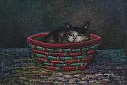 Animals Pastels Framed Prints - Cat In A Basket Framed Print by Arline Wagner