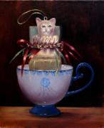 Jack-in-the-box Framed Prints - Cat in a Cup Framed Print by Loretta Fasan