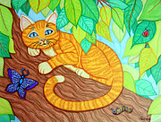 Bugs Drawings Prints - Cat in a Tree Print by Nick Gustafson