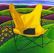 Black Cat Hills Posters - Cat in Butterfly Chair Poster by Carol Wilson