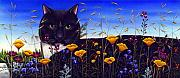 Black Painting Posters - Cat in Flower Field Poster by Carol Wilson