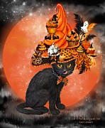 Holiday Art Prints - Cat In Halloween Cupcake Hat Print by Carol Cavalaris