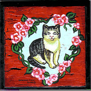 Canvas Cat Prints Prints - Cat In Heart Wreath 1 Print by Genevieve Esson