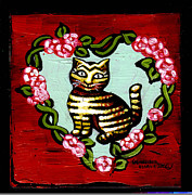 Canvas Cat Prints Prints - Cat In Heart Wreath 2 Print by Genevieve Esson