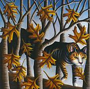Tabby Cat Posters - Cat in Oak Leaves Poster by Carol Wilson