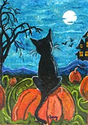 Haunted House Painting Framed Prints - Cat in Pumpkin Patch Framed Print by Paintings by Gretzky