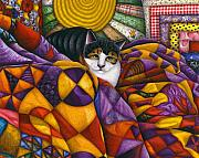 Quilts Framed Prints - Cat in Quilts Framed Print by Carol Wilson