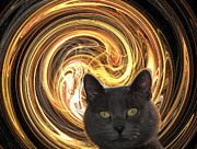 Zsuzsa Balla Art - Cat in spiral of life by Zsuzsa Balla