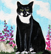 Furry Felines Painting Prints - Cat in the Garden Print by Elizabeth Robinette Tyndall