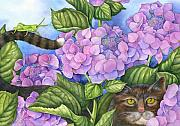 Pet Portraits Drawings Prints - Cat in the Garden Print by Mindy Lighthipe