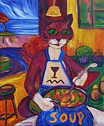 Dianne Connolly Framed Prints - Cat In The Kitchen Making Soup Framed Print by Dianne  Connolly