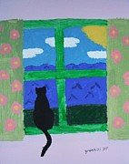 Jordan Painting Posters - Cat in Window Poster by Jeannie Atwater Jordan Allen