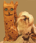 Folk Art Kitten Reliefs - Cat by James Neill