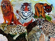 Wild Cats Paintings - Cat Kingdom by Liz Borkhuis