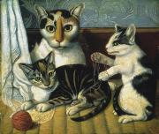 Folk Art Photos - Cat & Kittens by Granger