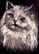 Cat Reliefs Metal Prints - Cat life Metal Print by Leonor Shuber