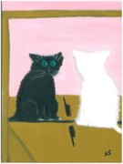 Not Thinking Prints - Cat Looking In Mirror Print by Anita r Snyder