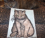 Zola Framed Prints - Cat Loves Cat Sketches Framed Print by Hilary Frihd