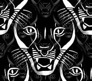 Moignard Prints - Cat Mask Print by Barbara Moignard