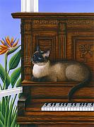 Siamese Paintings - Cat Missy on Piano by Carol Wilson