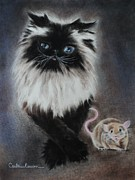 Cats Pastels Prints - Cat n Mouse Say CHEEEEEEESE Print by Carla Carson