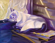 Cat Nap In The Office Print by Susan A Becker