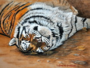 Nature Study Painting Posters - Cat Nap Poster by Louise Charles-Saarikoski