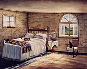 Stone Cottage Paintings - Cat Nap by Robert Foster