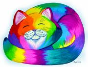 Colorful Art Drawings - Cat Napping by Nick Gustafson