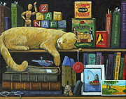 Shelves Posters - Cat Naps - old books oil painting Poster by Linda Apple