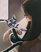 Cats Paintings - Cat Nestled by Carol Wilson