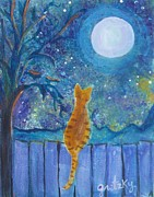 Gretzky Framed Prints - Cat on a Fence in the moonlight Framed Print by Paintings by Gretzky