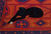 Persian Carpet  Originals - Cat on a Hot Thin Rug by Dana Schmidt