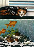 Tropical Fish Posters - Cat on Aquarium Poster by Carol Wilson