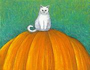 Cat Artwork Framed Prints - Cat on Pumpkin Framed Print by Carol Wilson