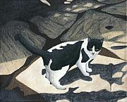 Black And White Cats Paintings - Cat on Rock Patio by Carol Wilson