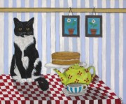 Teapot Paintings - Cat on Table by Tracey Kemp