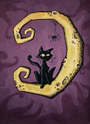 Creepy Drawings Posters - Cat on the Moon Poster by Sara Coolidge