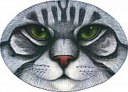 Gray Painting Posters - Cat Oval Face Poster by Carol Wilson