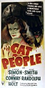 1942 Movies Framed Prints - Cat People, Simone Simon, 1942, Cat Framed Print by Everett