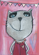 Cool Cats Paintings - Cat Rose by Sonja Mengkowski