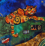 Cats Tapestries - Textiles Prints - Cat Print by Sandra Kern