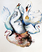 Swans... Paintings - Cat Scratch Fever by Rene Capone