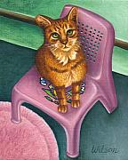 Painted Cat Posters - Cat Sitting On A Painted Chair Poster by Carol Wilson