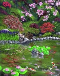 Lotus Pond Paintings - Cat Turtle and Water Lilies by Laura Iverson