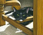 Black And White Cats Paintings - Cat Under A Chair by Carol Wilson