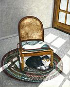 Tabby Cats Framed Prints - Cat under Rocking Chair Framed Print by Carol Wilson